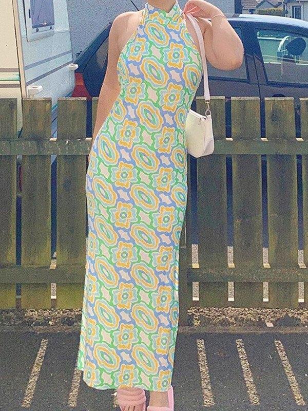 Halter Printed Slit Maxi Dress - Green S