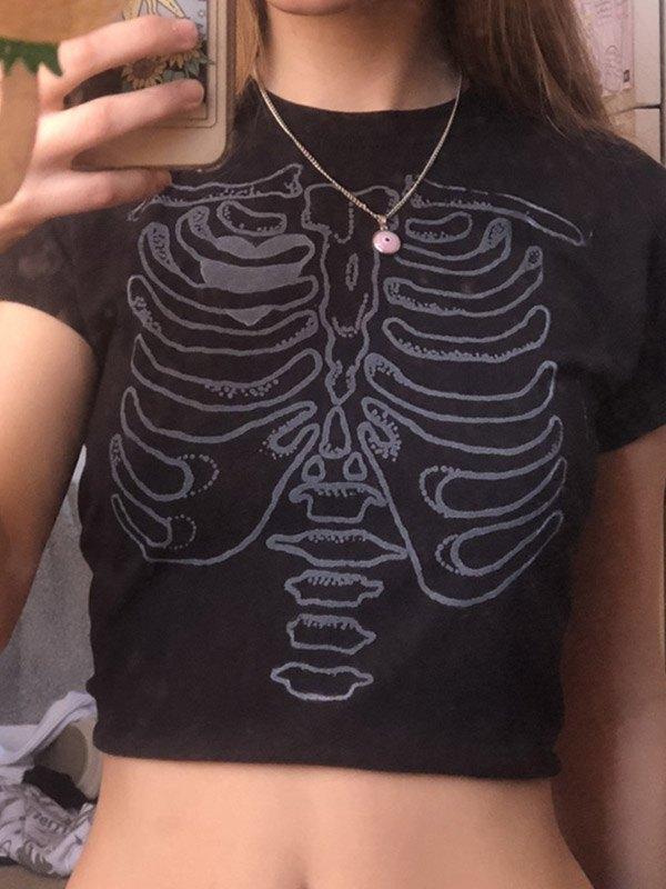 Short Sleeve Skeleton Print Crop Top - Black S