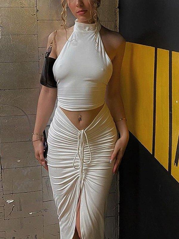 Irregular Slit Midi Skirt Set - White S
