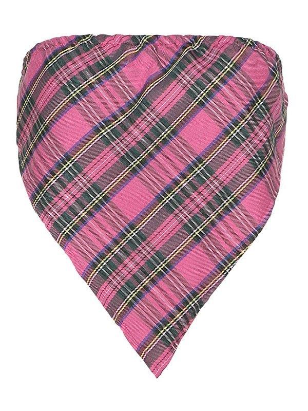 Checkered Print Crop Bandeau Top - Pink L