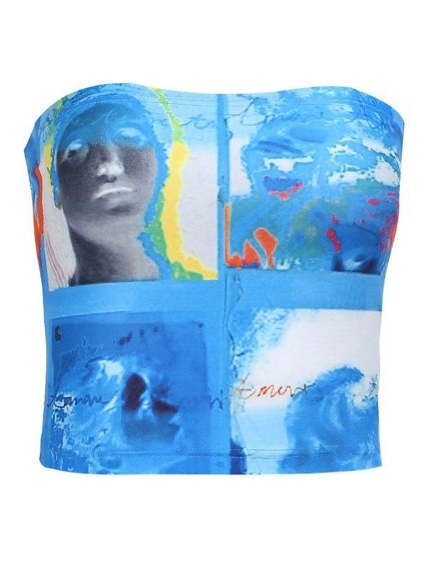 Mixed Print Crop Bandeau Top - Blue M