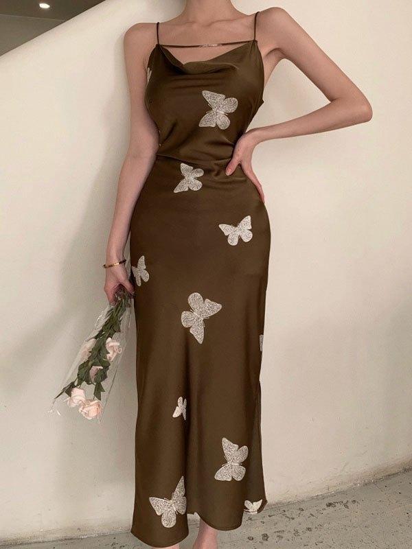 Butterfly Print Slip Maxi Dress - Dark Green S