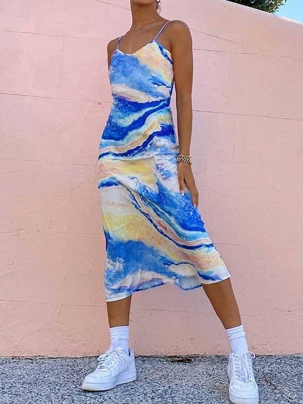 Watercolor Print Slip Midi Dress - multicolorple Colors L