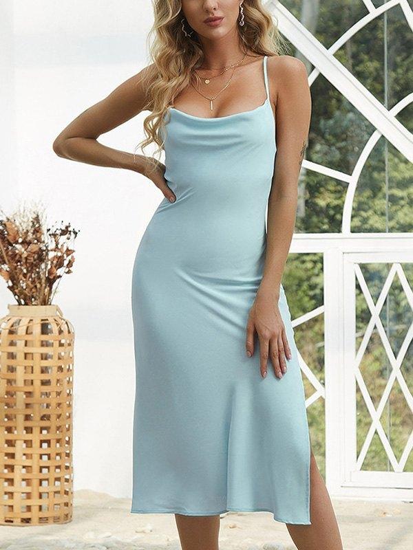 Open Back Slit Satin Midi Dress - Blue L