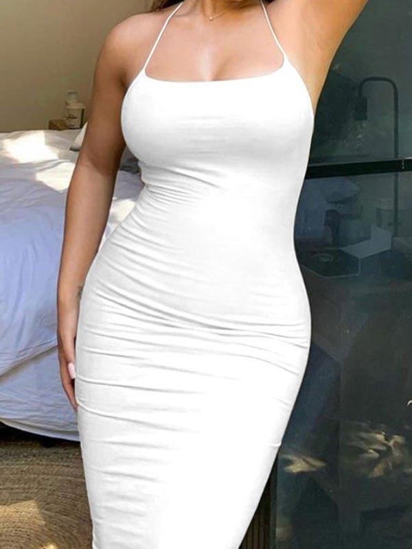 Cross Back Bodycon Midi Dress - White L