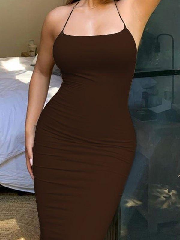 Cross Back Bodycon Midi Dress - Brown XL