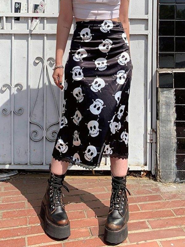 Satin Skull Print Midi Skirt - Black M