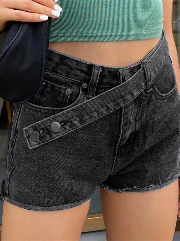 Cross Over Buttoned Denim Shorts - Black S