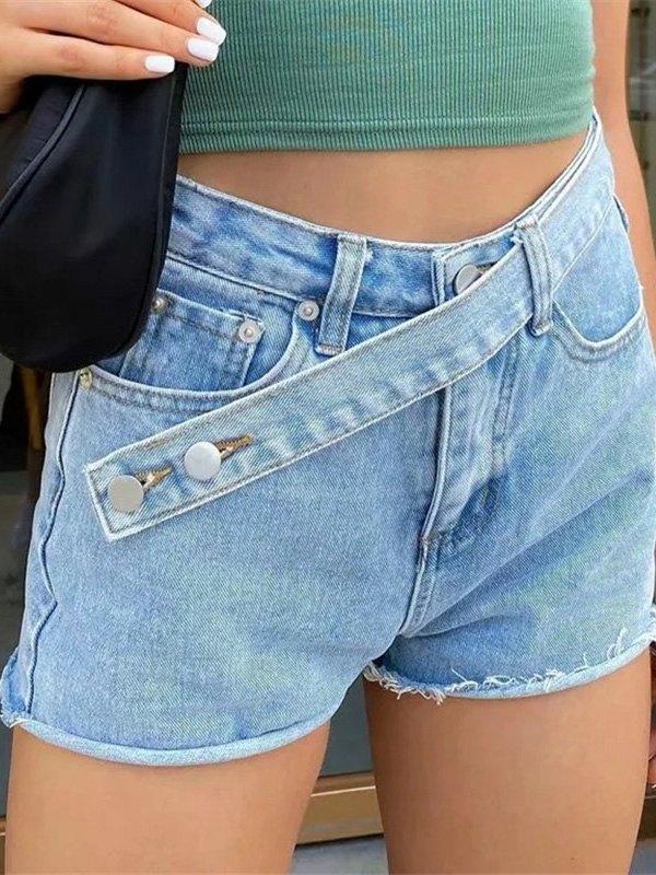 Cross Over Buttoned Denim Shorts - Blue XL