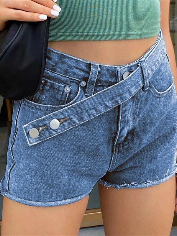 Cross Over Buttoned Denim Shorts - Navy Blue L