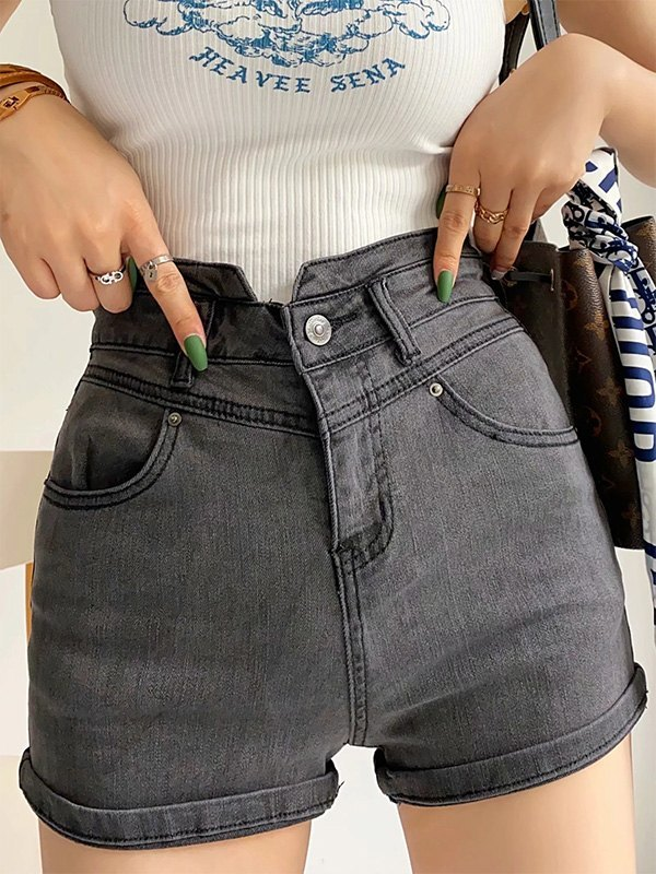 Washed Stretch Slim Denim Shorts - Gray S