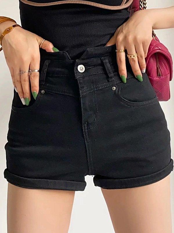 Washed Stretch Slim Denim Shorts - Black L