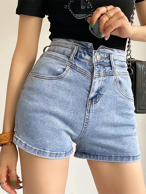 Washed Stretch Slim Denim Shorts - Blue XS
