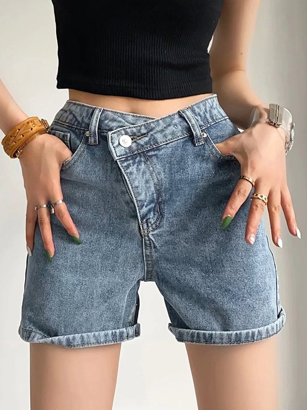 Criss Cross Stretch Denim Shorts - Blue S