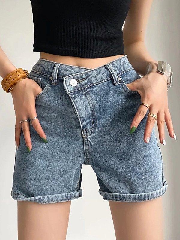 Criss Cross Stretch Denim Shorts - Blue XS