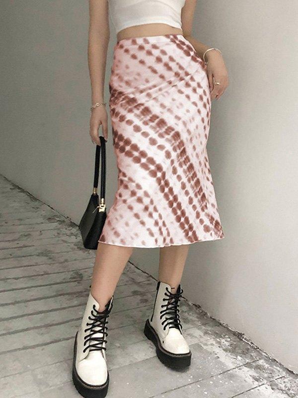 Tie Dye Midi Skirt - Brown S
