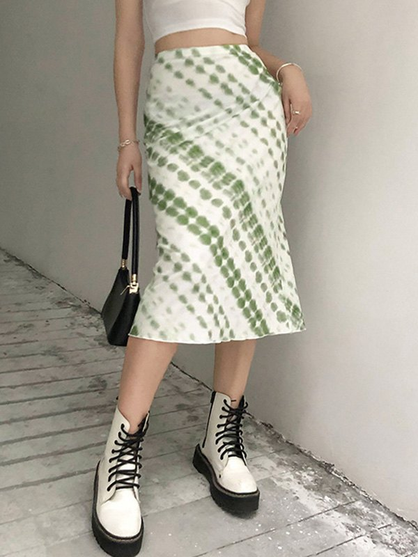 Tie Dye Midi Skirt - Green S