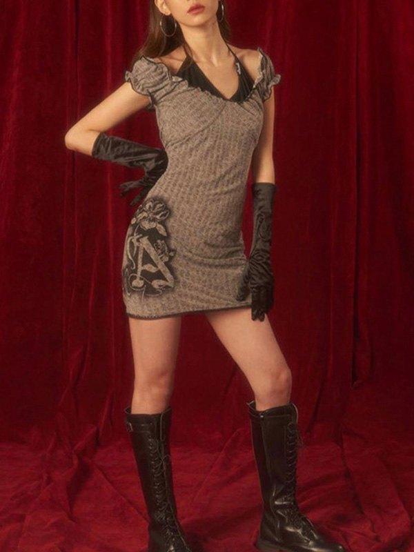 Patchwork Halter Bodycon Mini Dress - Gray L