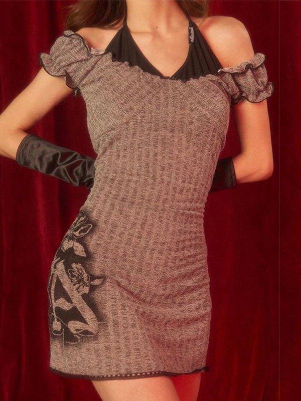Patchwork Halter Bodycon Mini Dress - Brown S