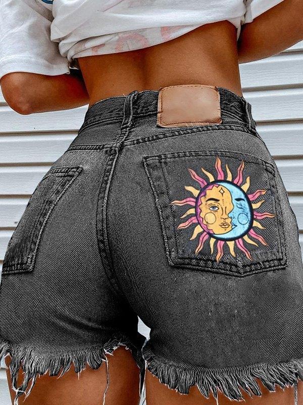 Sun Moon Print Frayed Denim Shorts - Black L