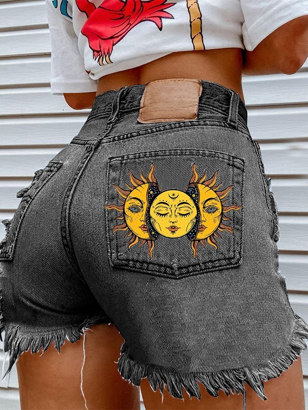Sun Print Frayed Denim Shorts - Black 2XL