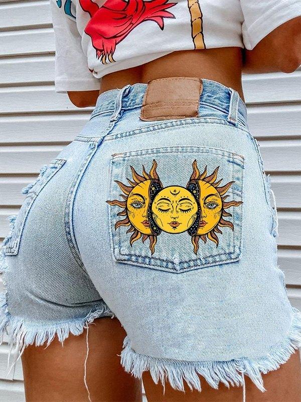 Sun Print Frayed Denim Shorts - Blue S