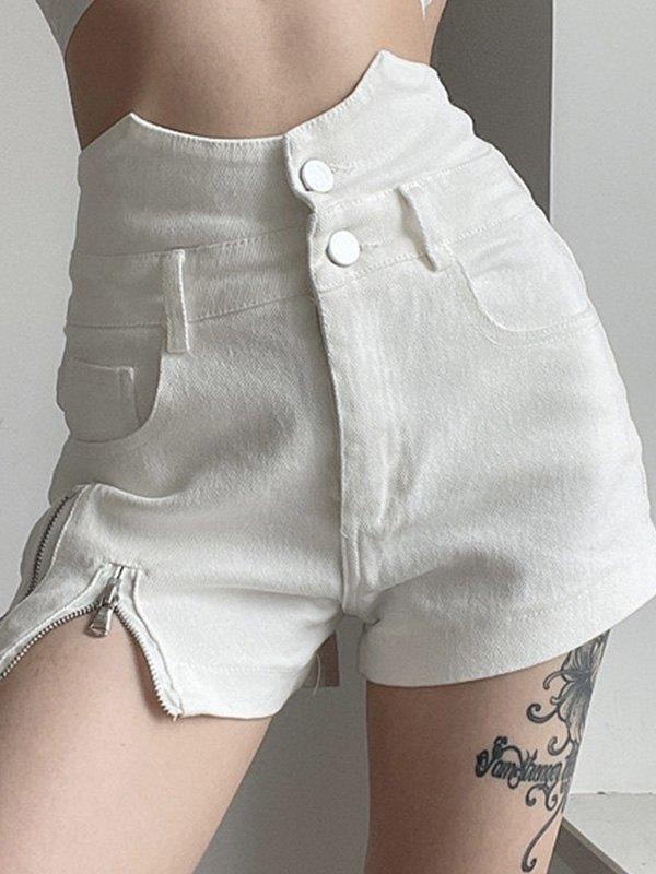 Zipper Detail Irregular Denim Shorts - White S