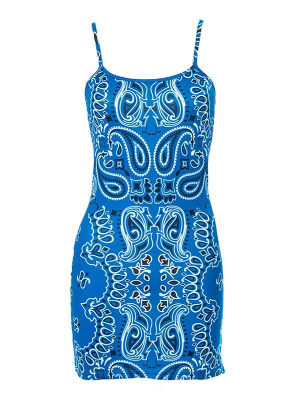 Paisley Print Bodycon Mini Dress - Blue L