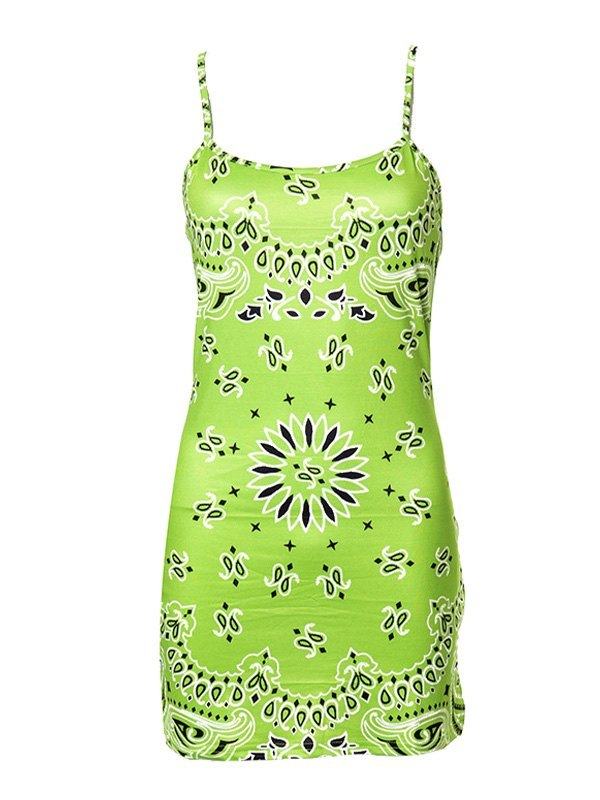Paisley Print Bodycon Mini Dress - Green XL