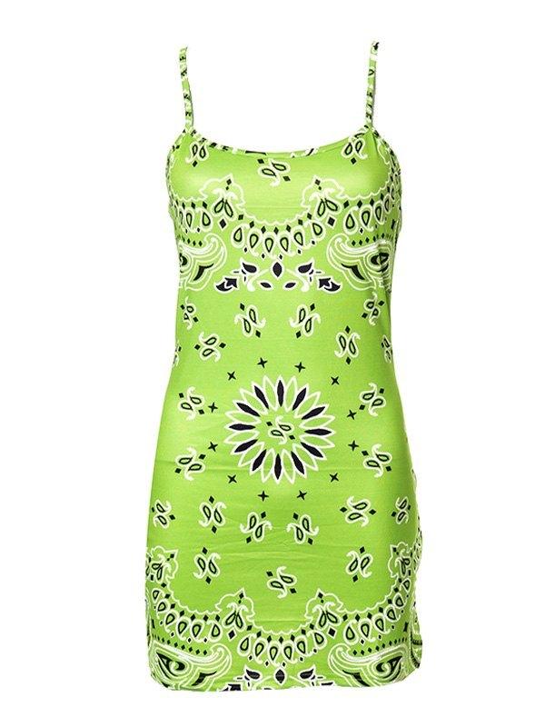 Paisley Print Bodycon Mini Dress - Green S