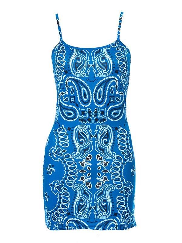 Paisley Print Bodycon Mini Dress - Blue M