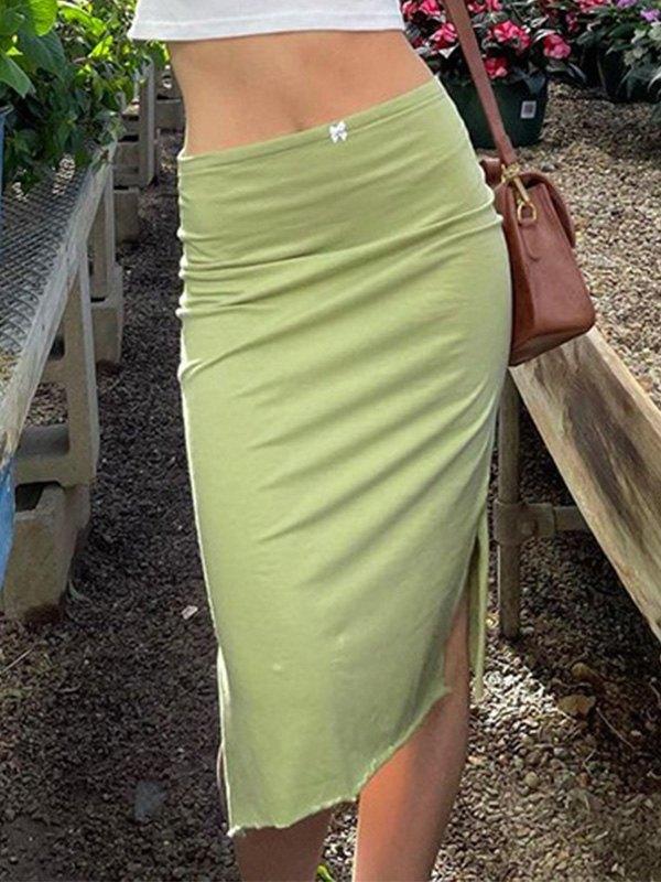 Pure Color Slit Midi Skirt - Green M