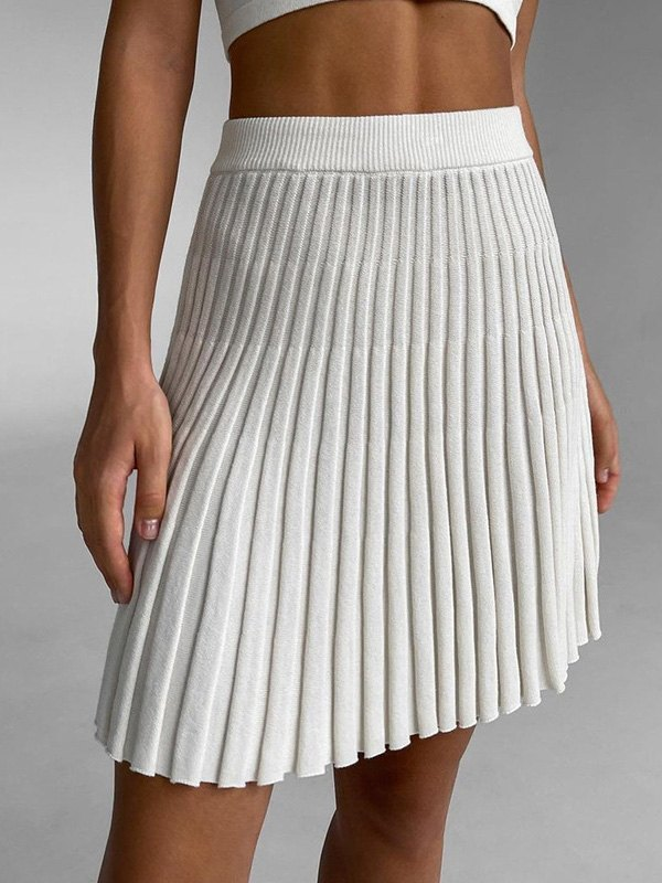 Pleated Knit Mini Skirt -