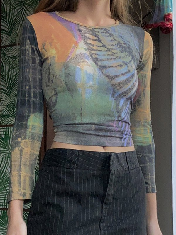 Mixed Print Long Sleeve Crop Top -