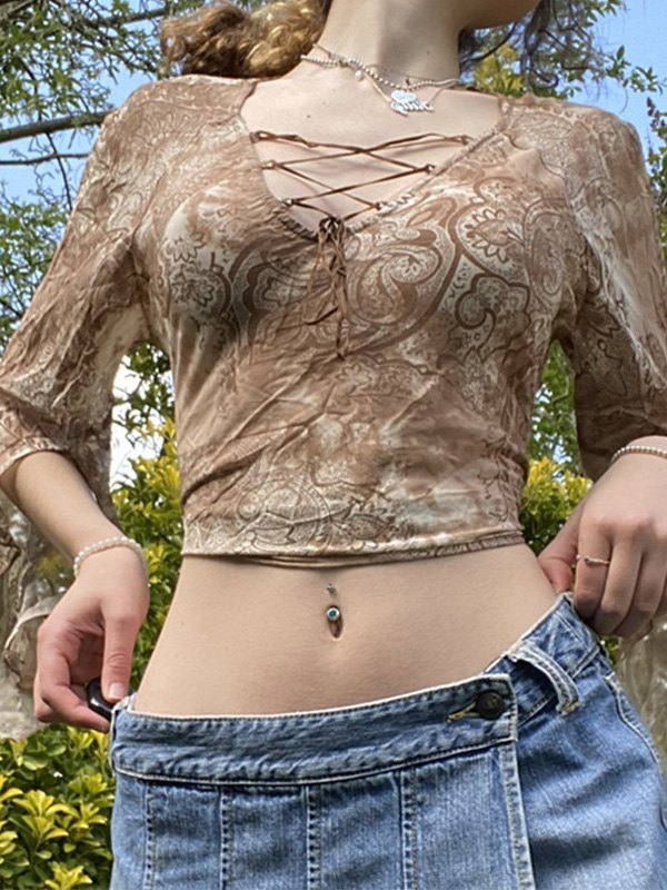 Lace Up Long Sleeve Mesh Crop Top -