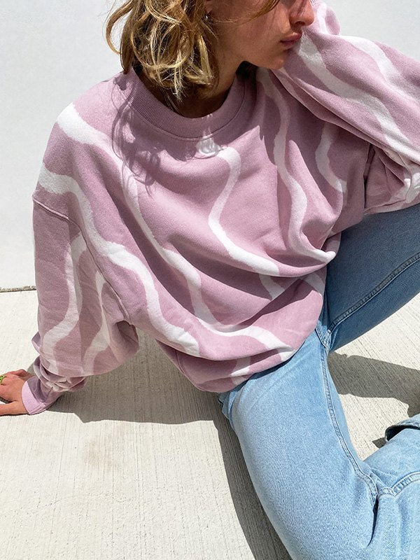 Wave Print Long Sleeve Sweatshirt -