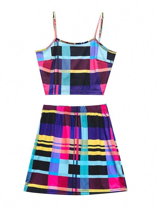 Geometric Print Skirt Set - Blue L