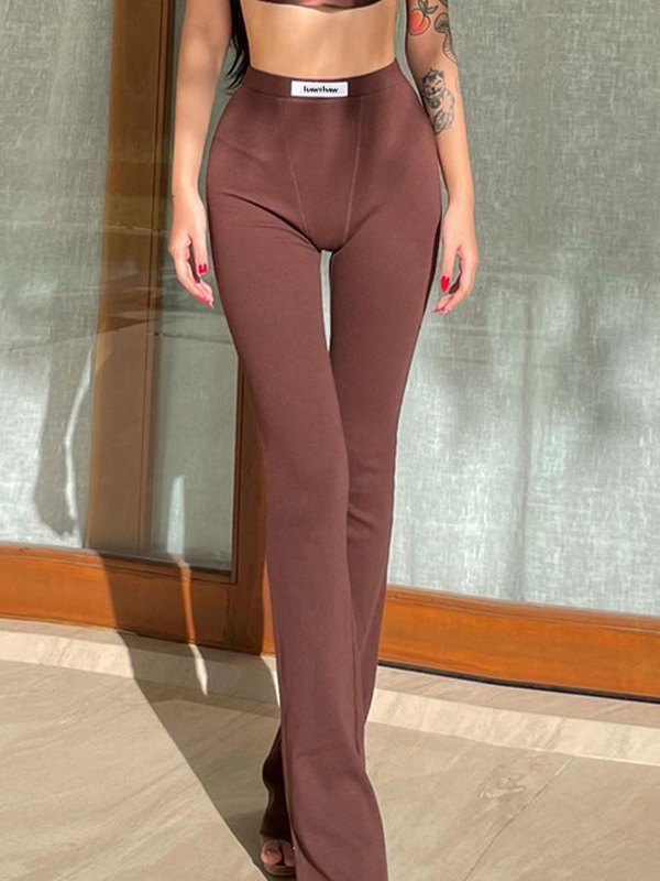Patched High Rise Flare Leg Pants - Brown L