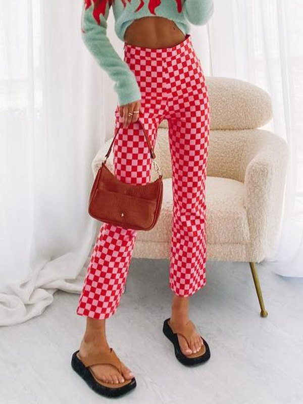 Checkered Print Cropped Straight Leg Pants - Red M