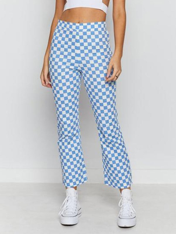 Checkered Print Cropped Straight Leg Pants - Pure Blue S