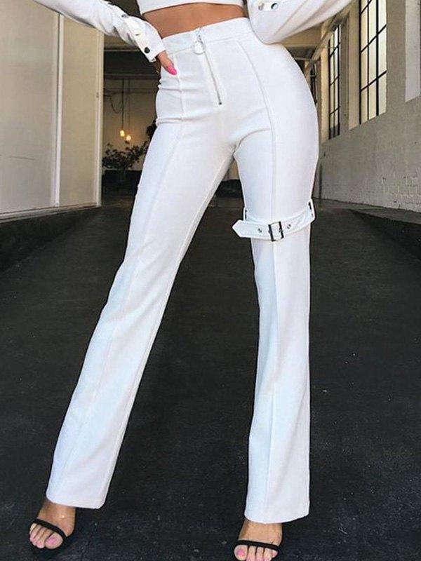 Zipper Mid Rise Slim Pants - White M