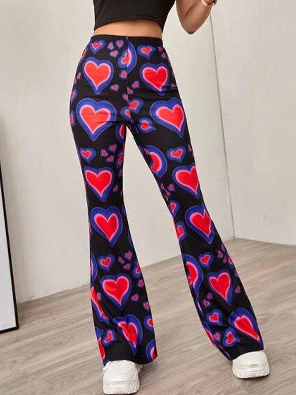 Heart Print Flare Leg Pants - Black L