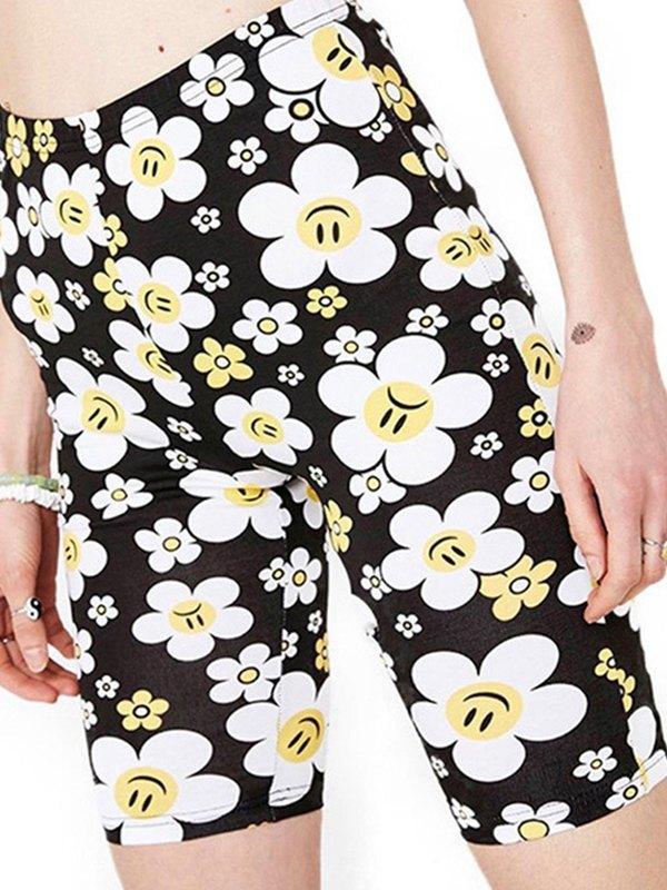 Smiley Daisy Print Biker Shorts - Black L