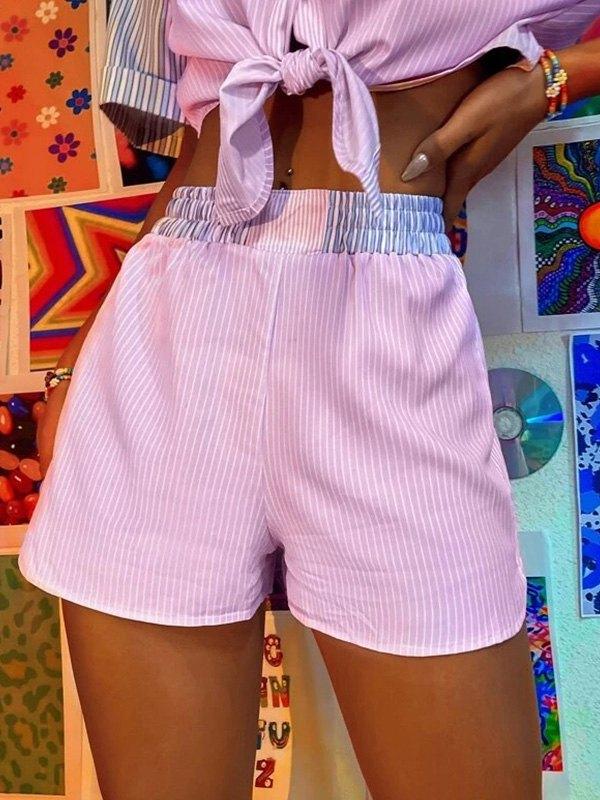 Pinstriped Straight Leg Shorts - Pink L