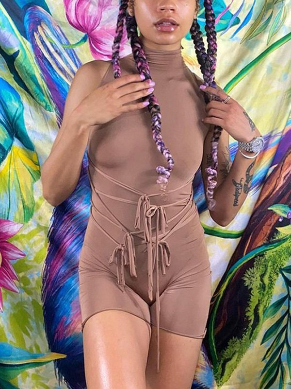 Lace Up Bodycon Romper - Brown S