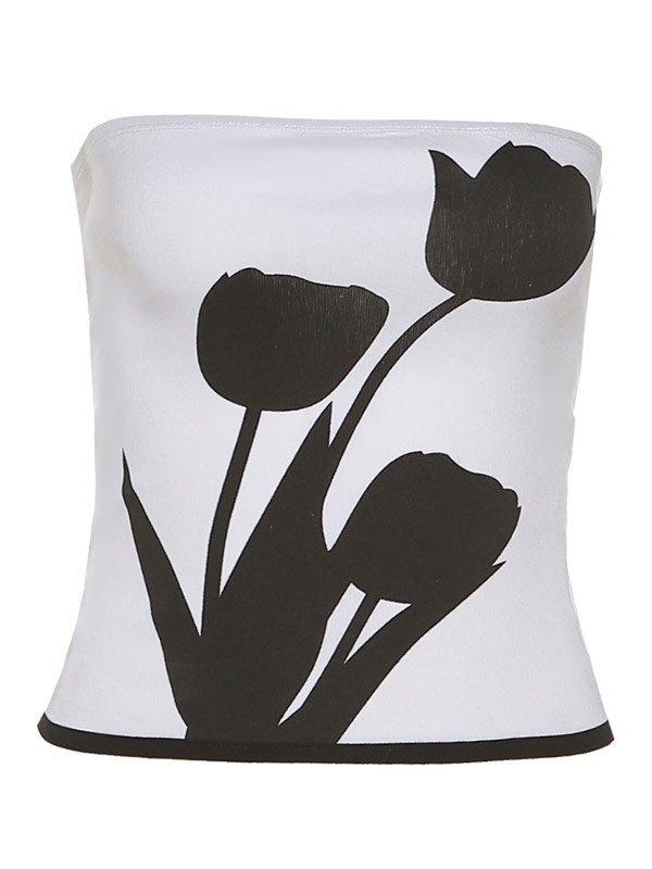 Tulip Print Crop Bandeau Top -