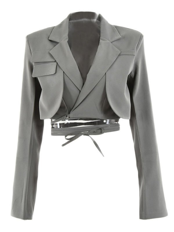 Wrap Over Layered Crop Blazer - Gray S