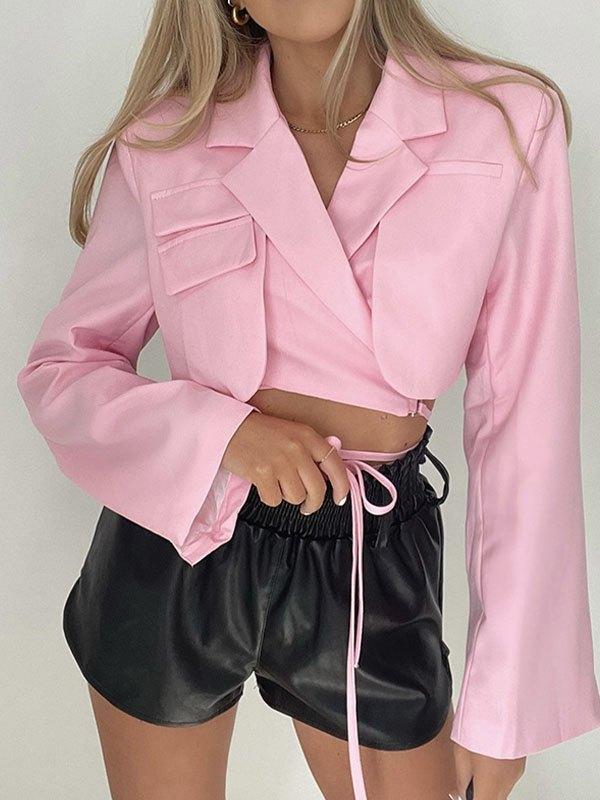Wrap Over Layered Crop Blazer - Pink S
