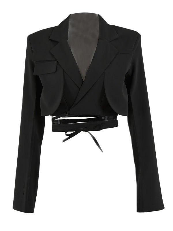 Wrap Over Layered Crop Blazer - Black L