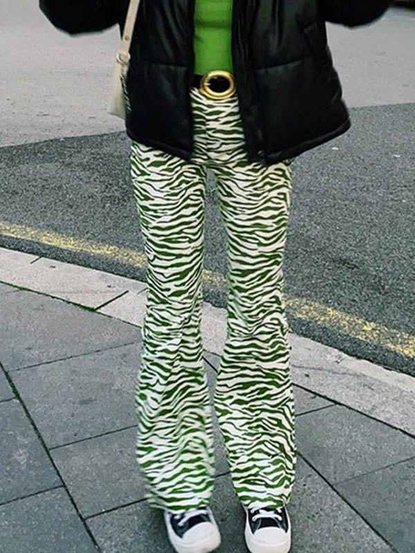 Zebra Stripe Straight Leg Pants -